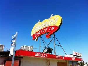 "Angelo's Drive-In in Fresno - doomed symbol since 1954 of the ""car culture"" California High-Speed Rail is supposed to obliterate."
