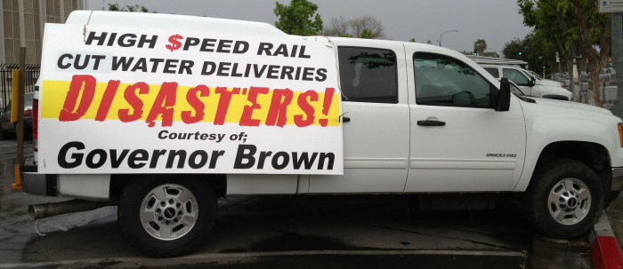California High-Speed Rail - Cut Water Deliveries - Disasters - Courtesy of Governor Brown - April 4 2013 in Fresno