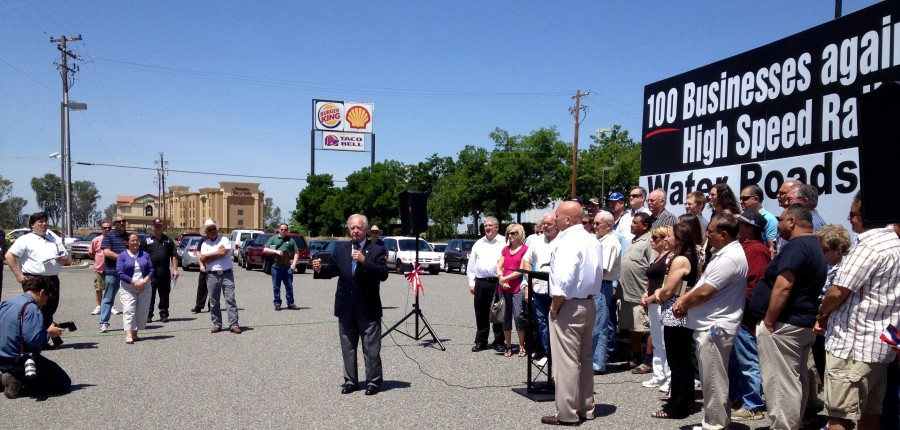 Mr. Waters was one of the individuals who addressed the media and concerned citizens at a rally to bring awareness of the Fresno businesses impacted by the California High-Speed Rail project. The event was held at Klein's Truck Stop in Fresno on May 1, 2012.