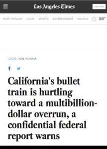 California's bullet train is hurtling toward a multibillion-dollar overrun